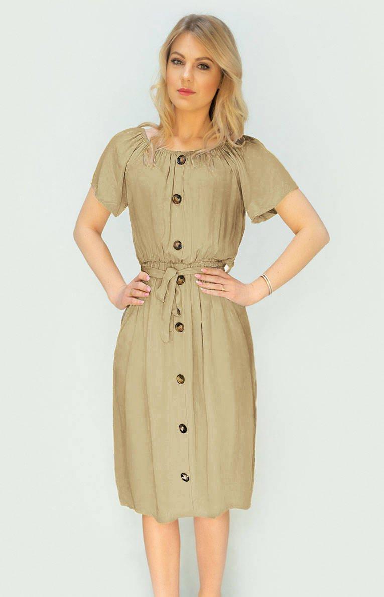 Béžové dámské midi šaty s knoflíky (398ART) béžová ONE SIZE