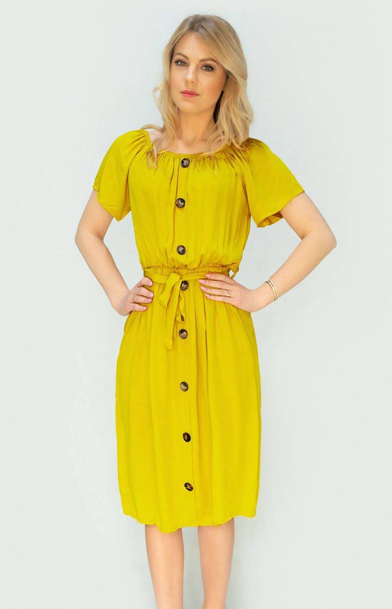Žluté dámské midi šaty s knoflíky (398ART) žlutá ONE SIZE