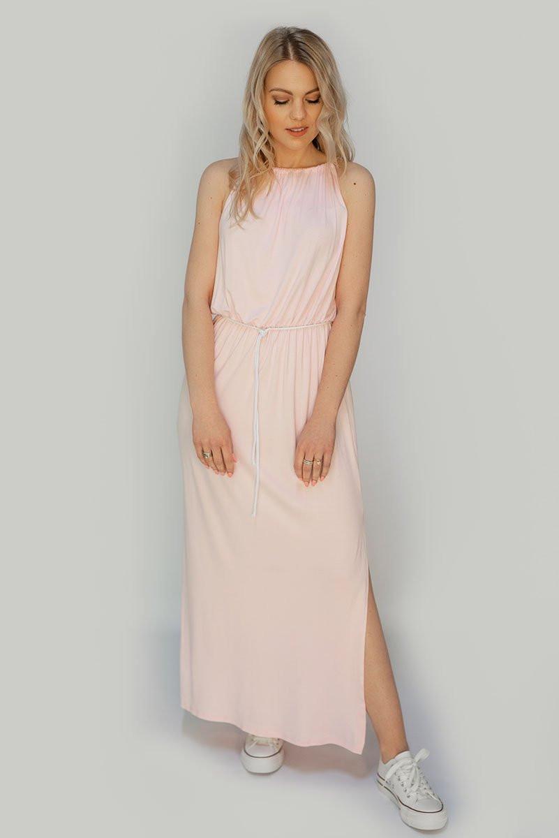 Růžové dlouhé šaty na ramínka (594ART) růžová ONE SIZE