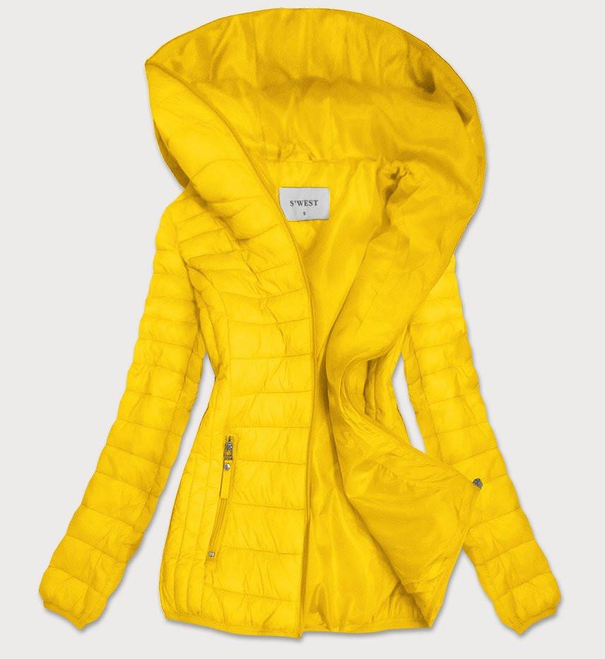 Žlutá prošívaná dámská bunda s kapucí (B0101) žlutá S (36)