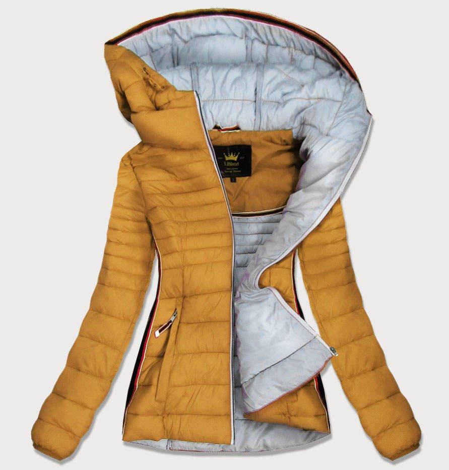 Žlutá dámská prošívaná bunda se vsadkami (7242) žlutá S (36)
