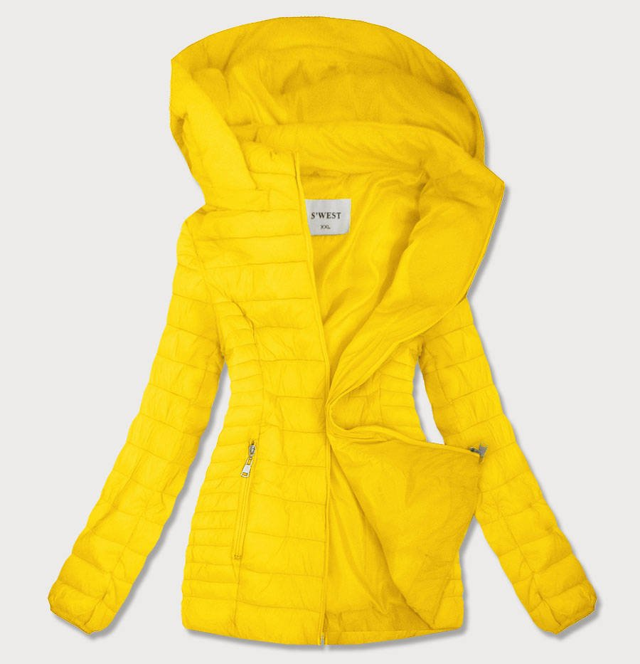 Žlutá prošívaná dámská bunda s kapucí (B0103) žlutá 46
