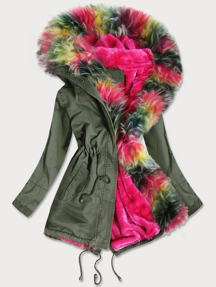 Dámská zimní bunda parka v khaki barvě s barevným kožíškem (D-216#) khaki S (36)