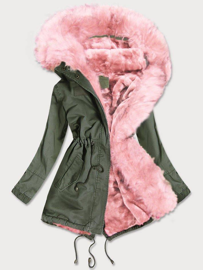 Khaki-růžová dámská zimní bunda parka s barevným kožíškem (D-216#) růžová M (38)