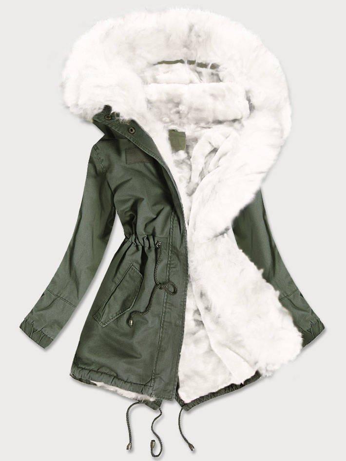 Khaki-bílá dámská zimní bunda parka s barevným kožíškem (D-216#) bílá XL (42)