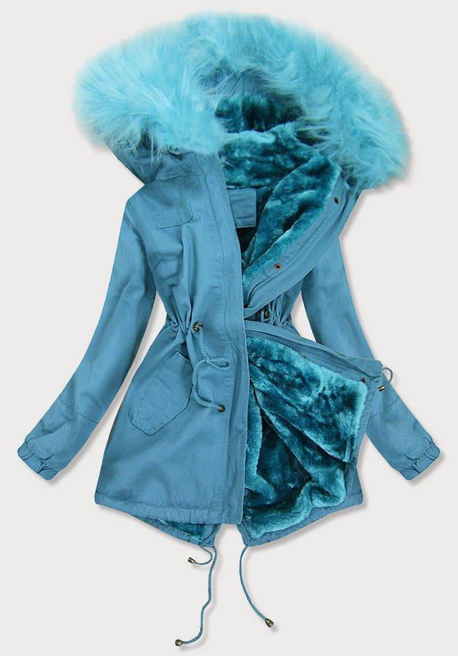 Světle modrá dámská zimní bunda parka (D-213-5) modrá L (40)