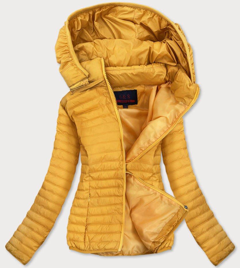Tenká žlutá dámská prošívaná bunda (B11-2) žlutá 46