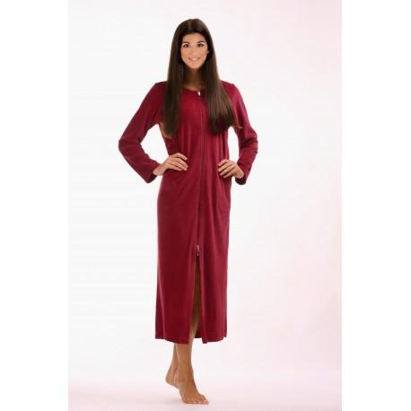 RIO dámské dlouhé šaty se zipem L dlouhý župan se zipem vínová 3651