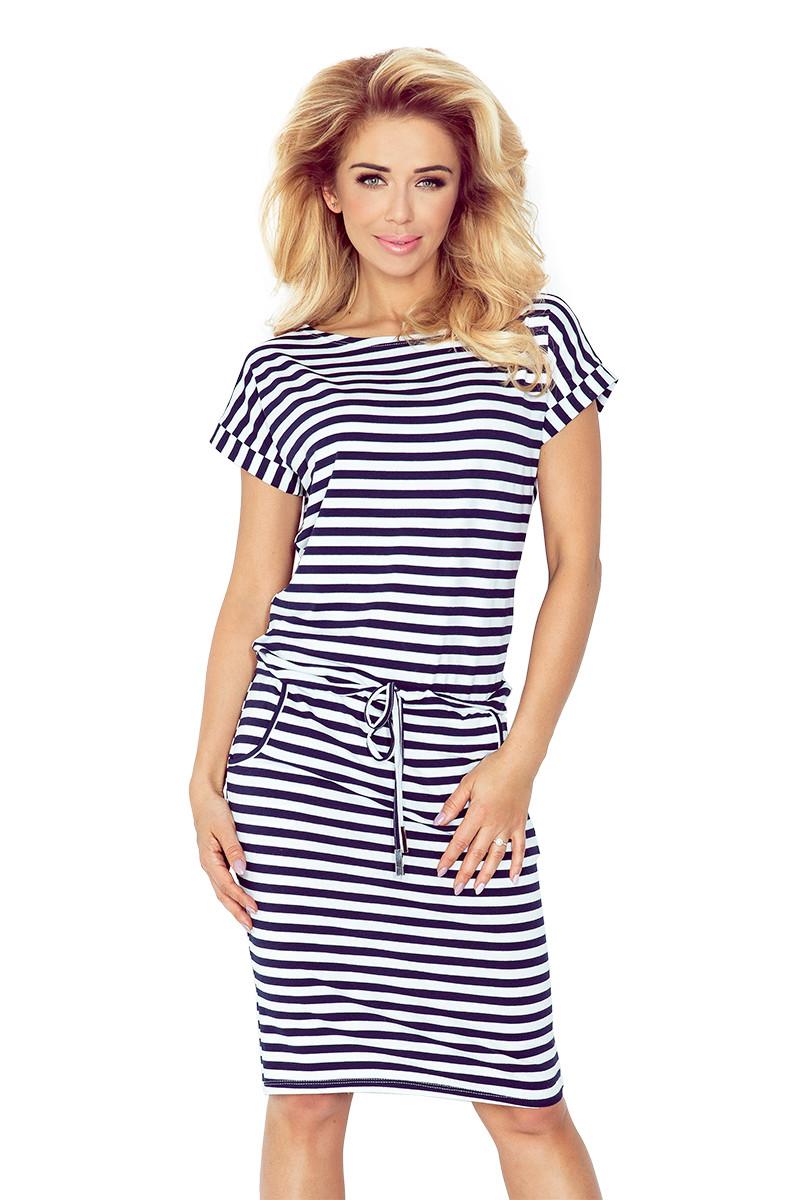 Dámské šaty 139-2 bílo-modrá XS