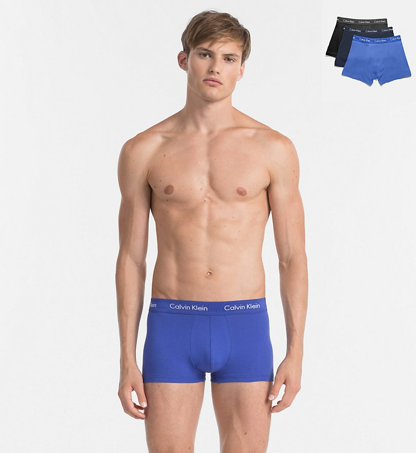 Calvin Klein 3Pack Boxerky Blue Shadow, Black and Cobalt Water S