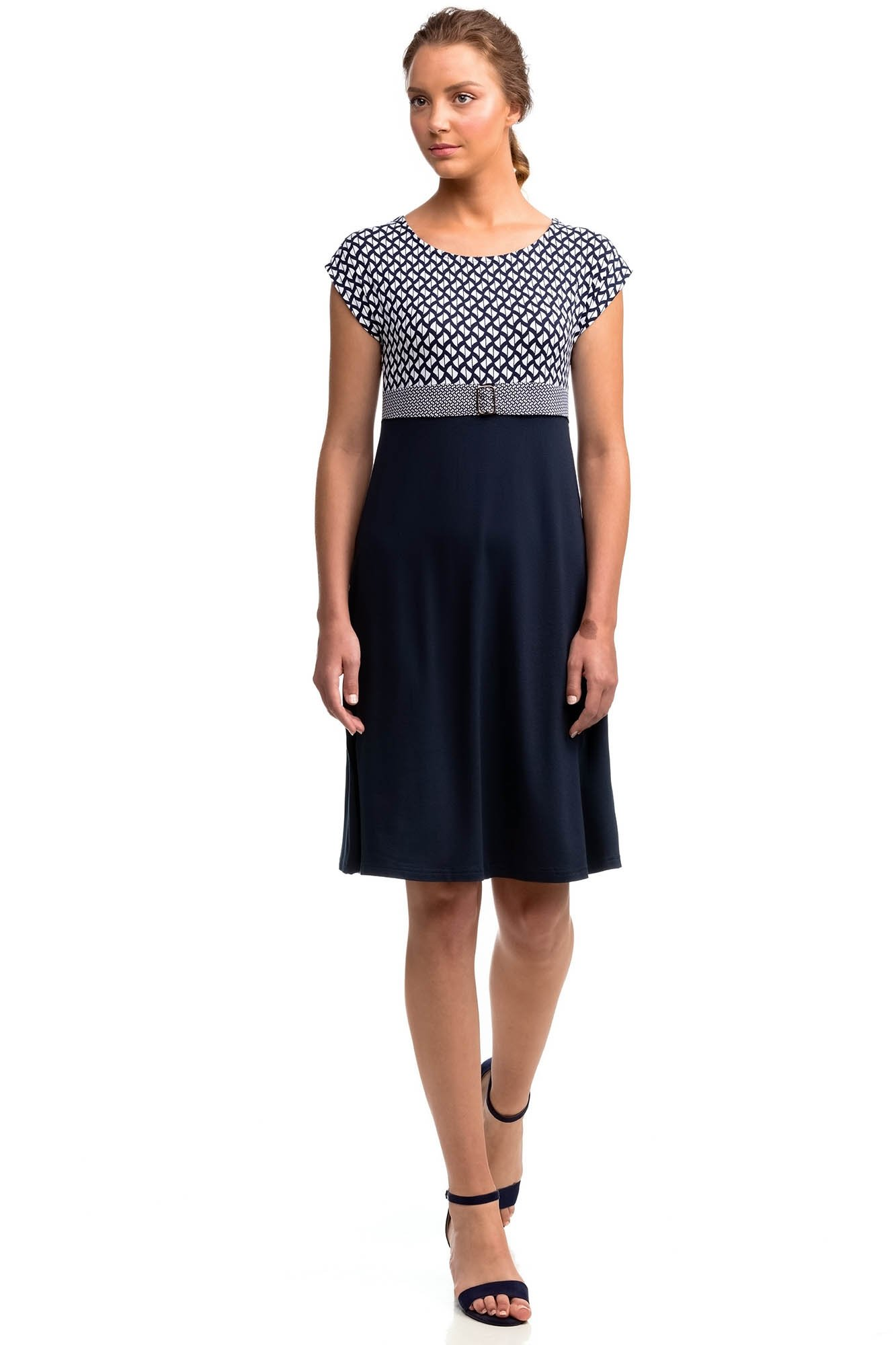 Vamp - Elegantní vzorované dámské šaty BLUE L 14452 - Vamp