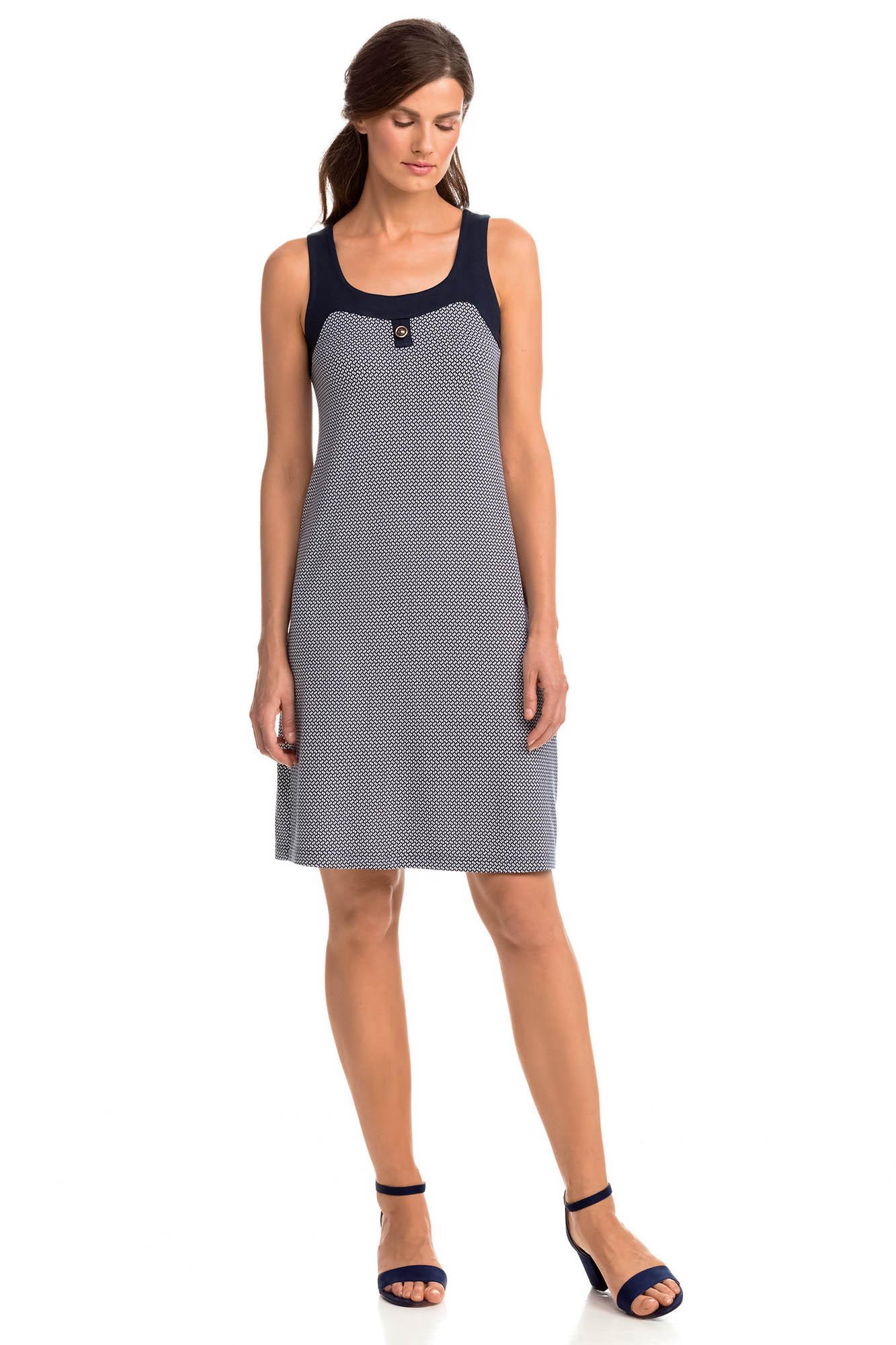 Vamp - Elegantní vzorované dámské šaty BLUE M 14455 - Vamp