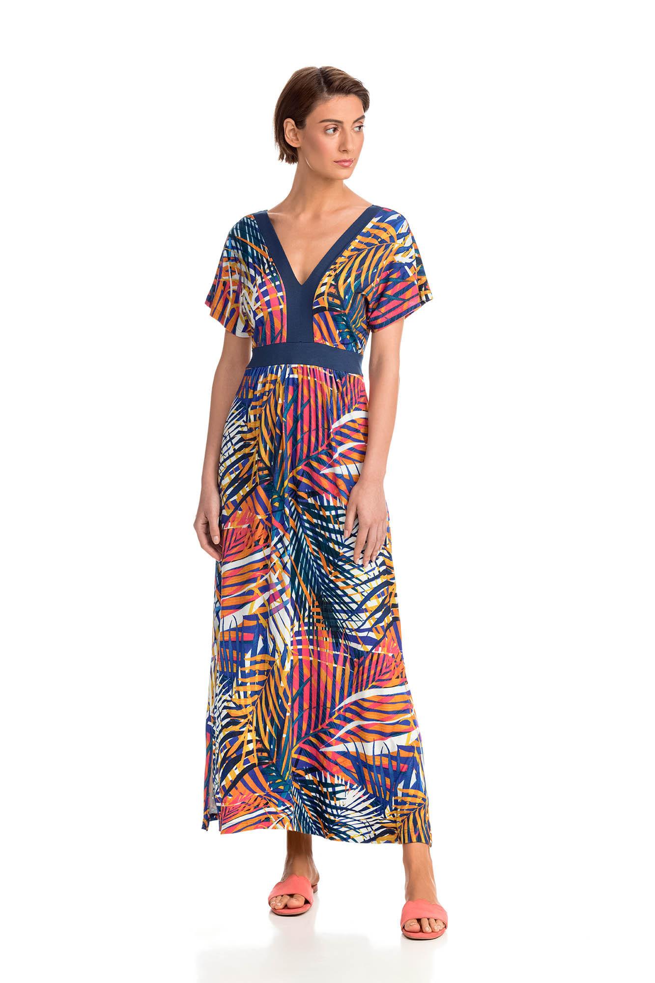 Vamp - Elegantní dámské dlouhé šaty BLUE MARINE L 14491 - Vamp