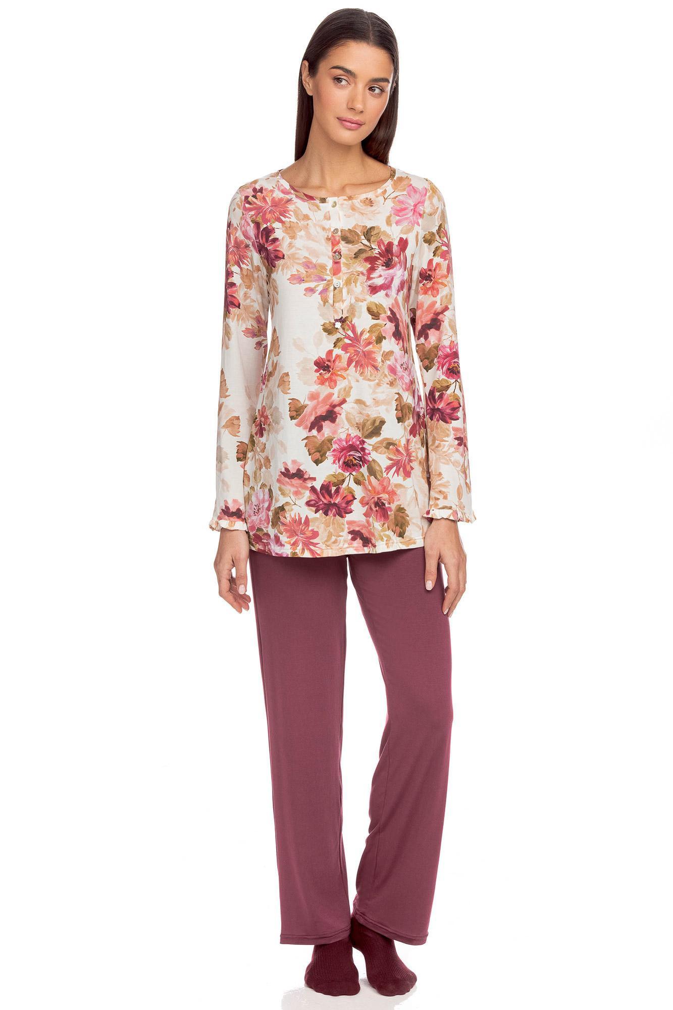 Vamp - Dvoudílné dámské pyžamo Scarlett RED PORTO XL 15078 - Vamp