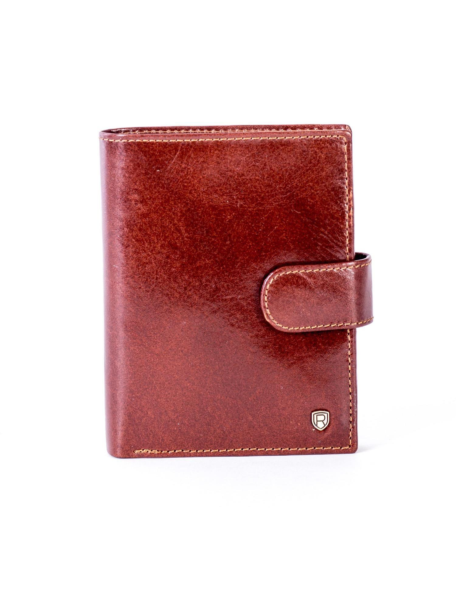 Hnědá kožená peněženka se západkou ONE SIZE