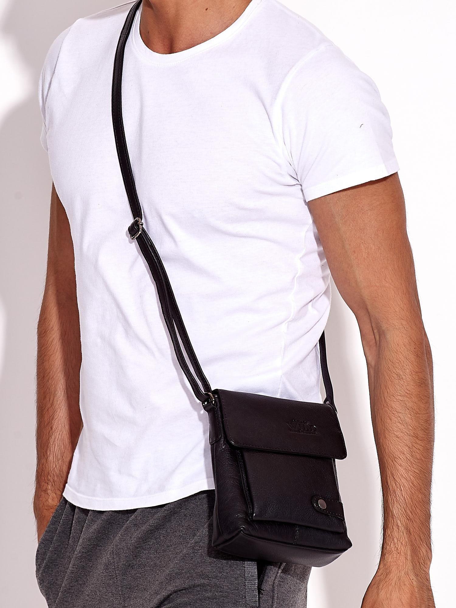 Pánská černá kožená taška s kapsami ONE SIZE