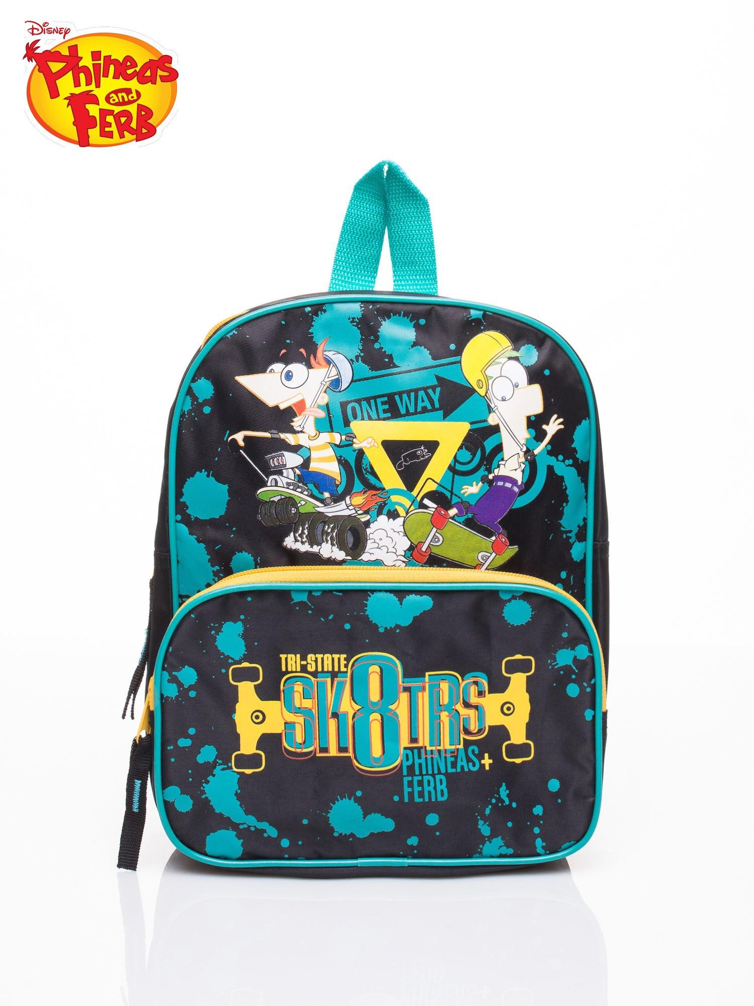 Tyrkysový školní batoh s motivem Phineas a Ferb ONE SIZE