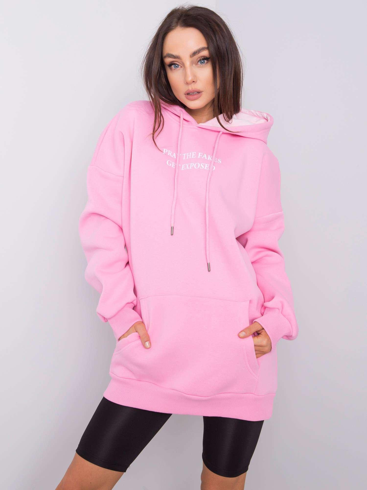 RUE PARIS Růžová klokaní mikina S / M