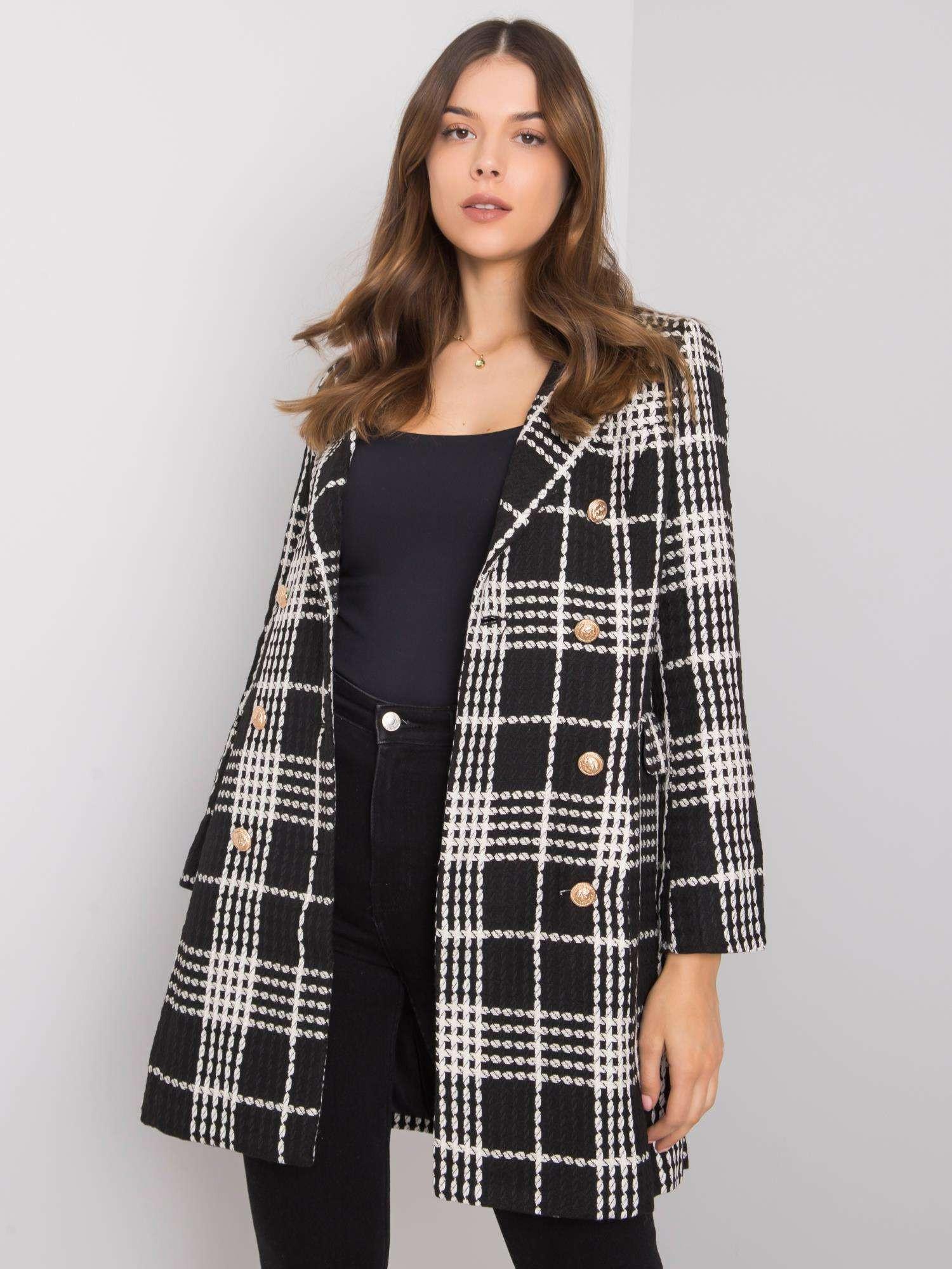 Černý a bílý dámský kostkovaný kabát S