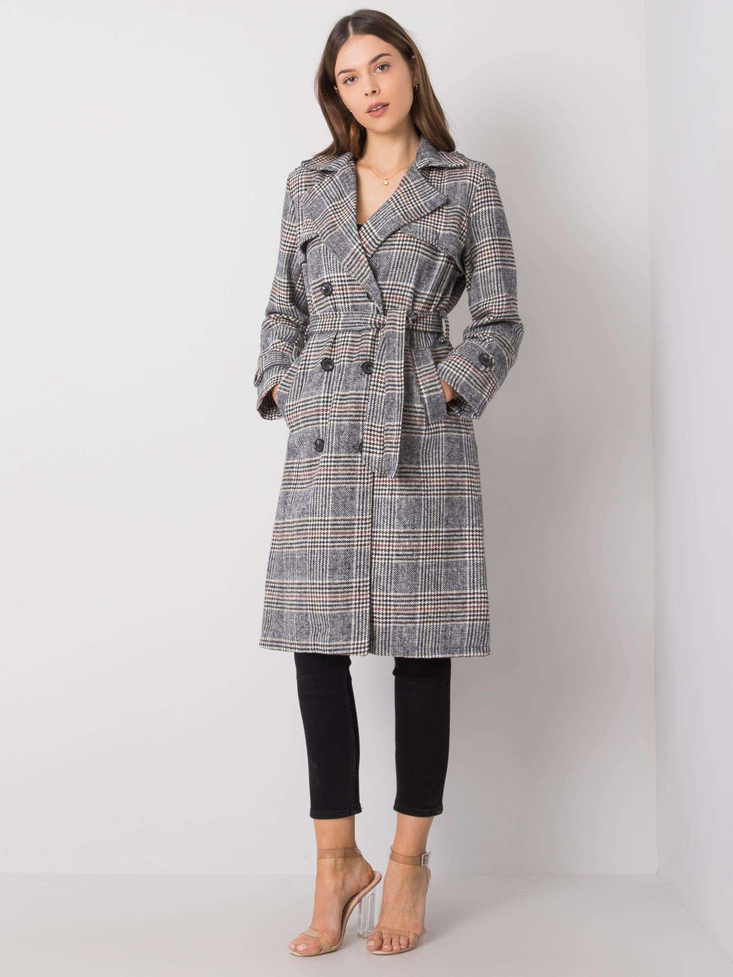 Černý a bílý kostkovaný kabát jedna velikost