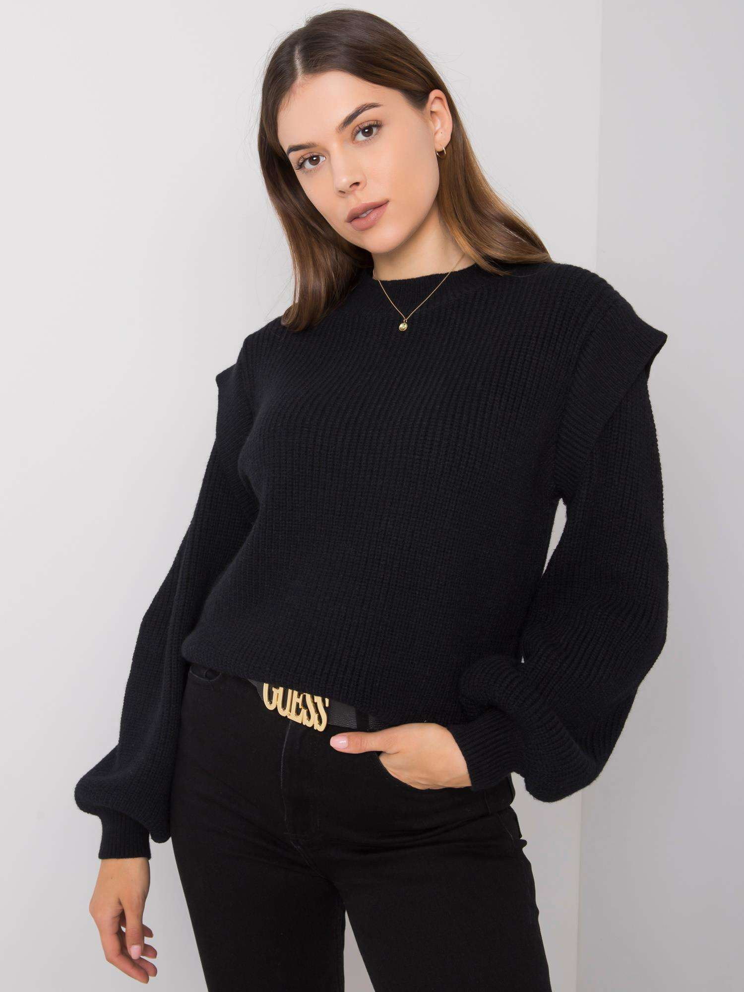 Klasický černý svetr S / M
