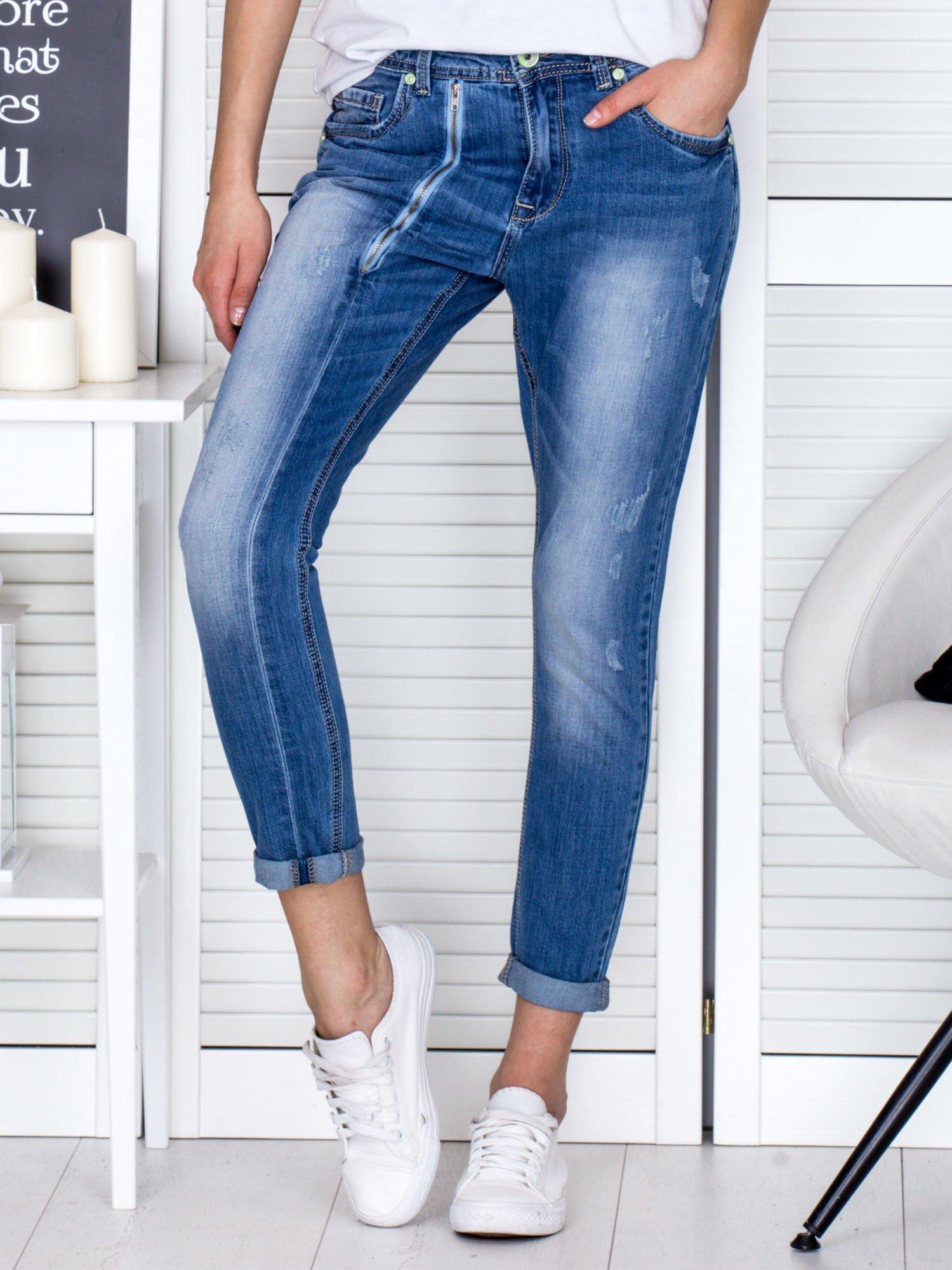 Dámské běžné modré kalhoty se zipem 34