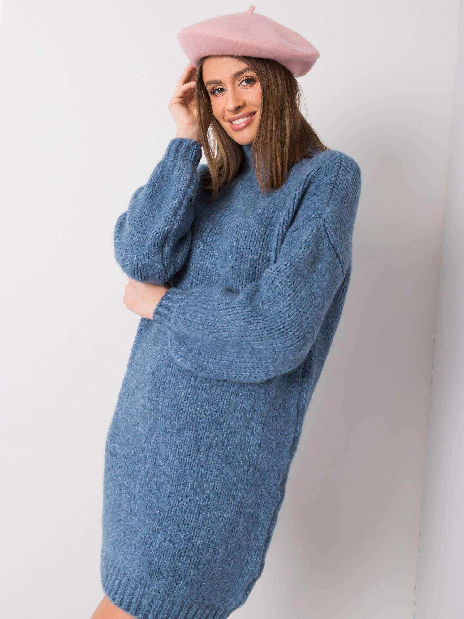 Modré pletené šaty ONE SIZE