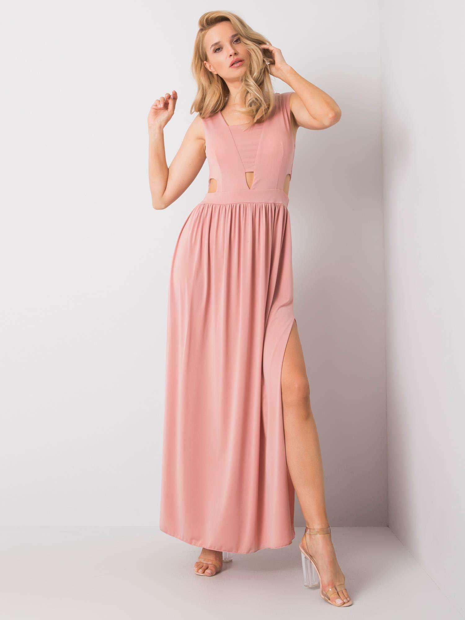 Růžové dlouhé šaty jedna velikost