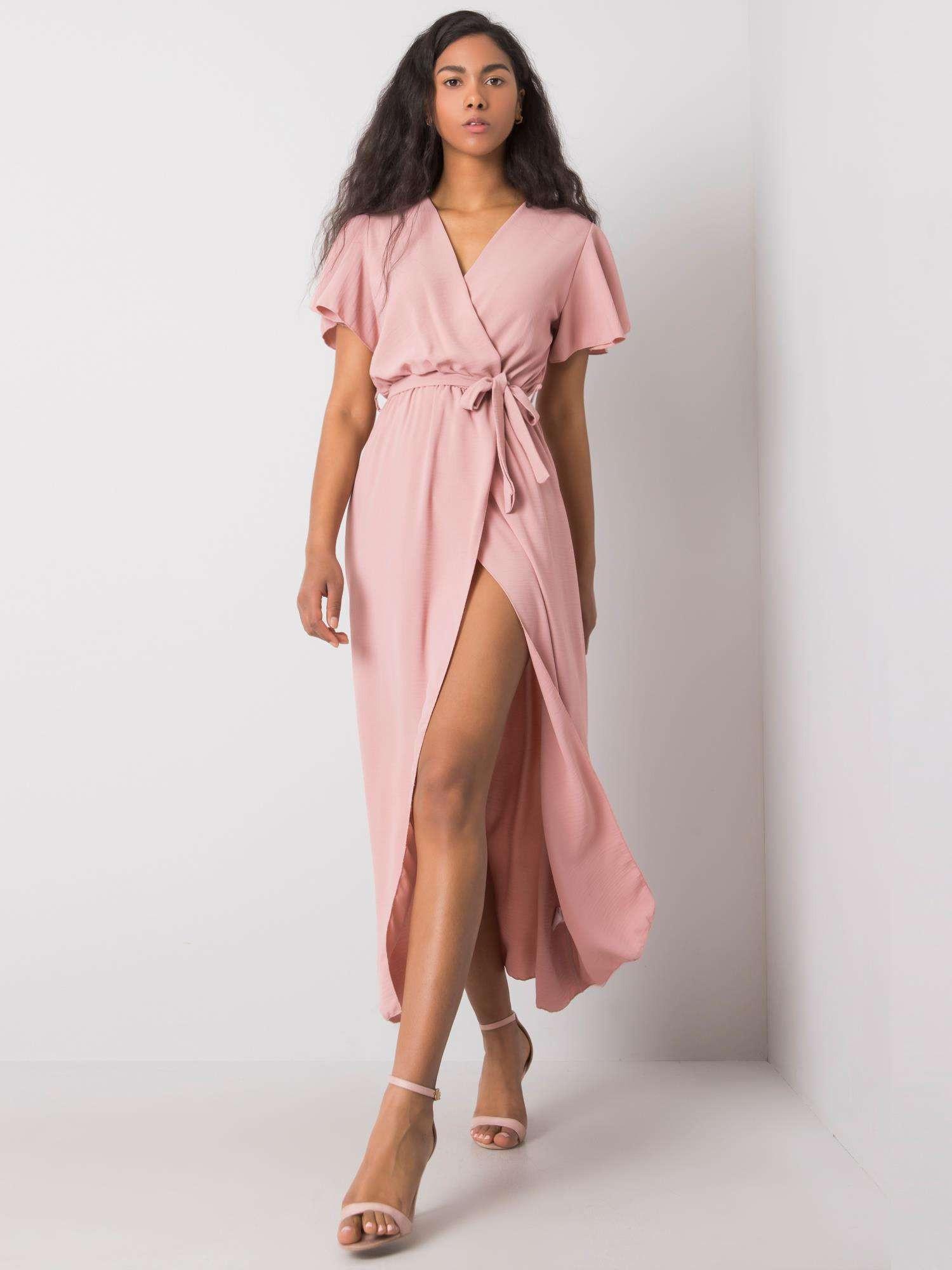 Pudrově růžové dlouhé šaty s opaskem jedna velikost