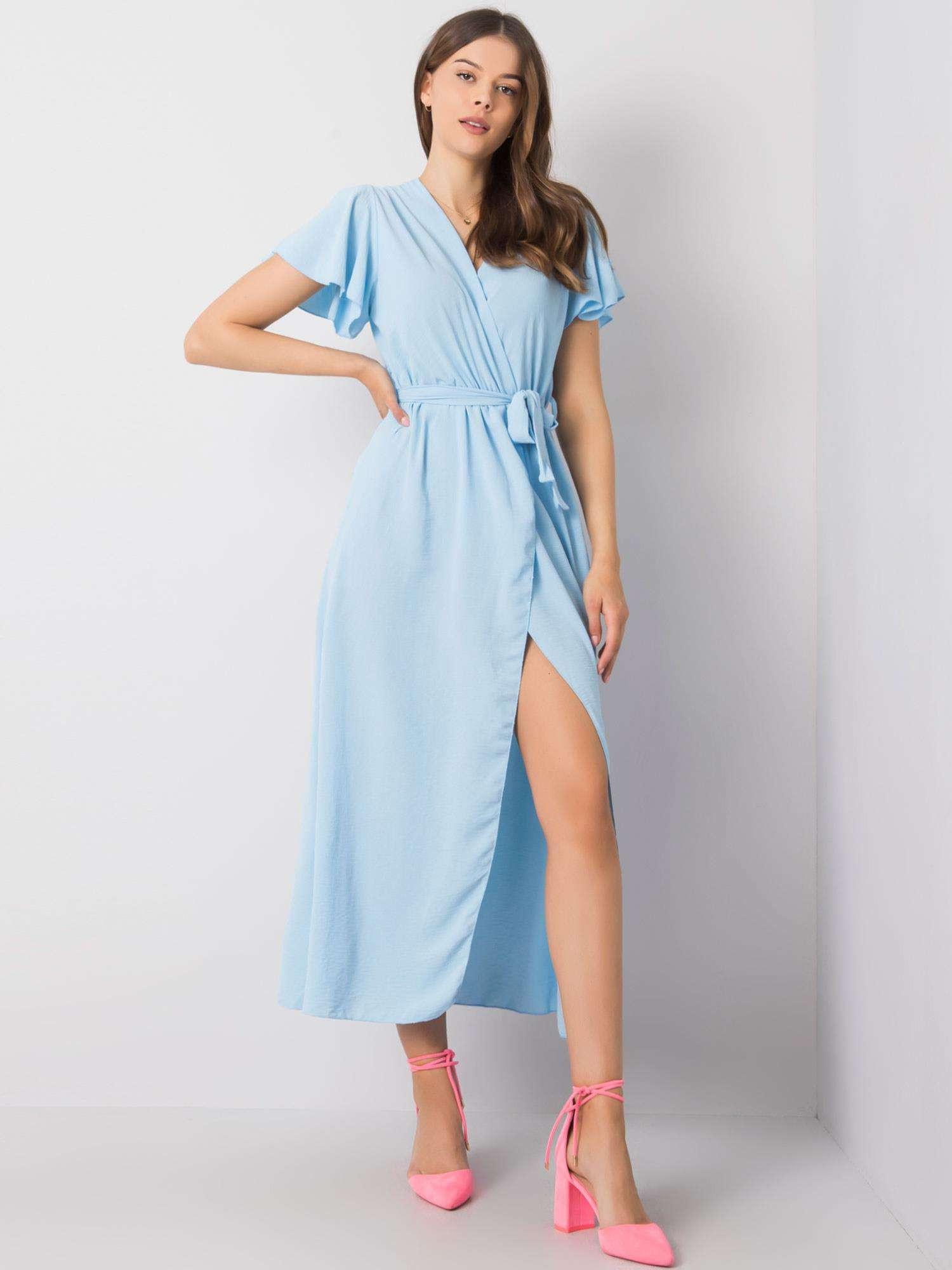 Modré dlouhé šaty s opaskem jedna velikost