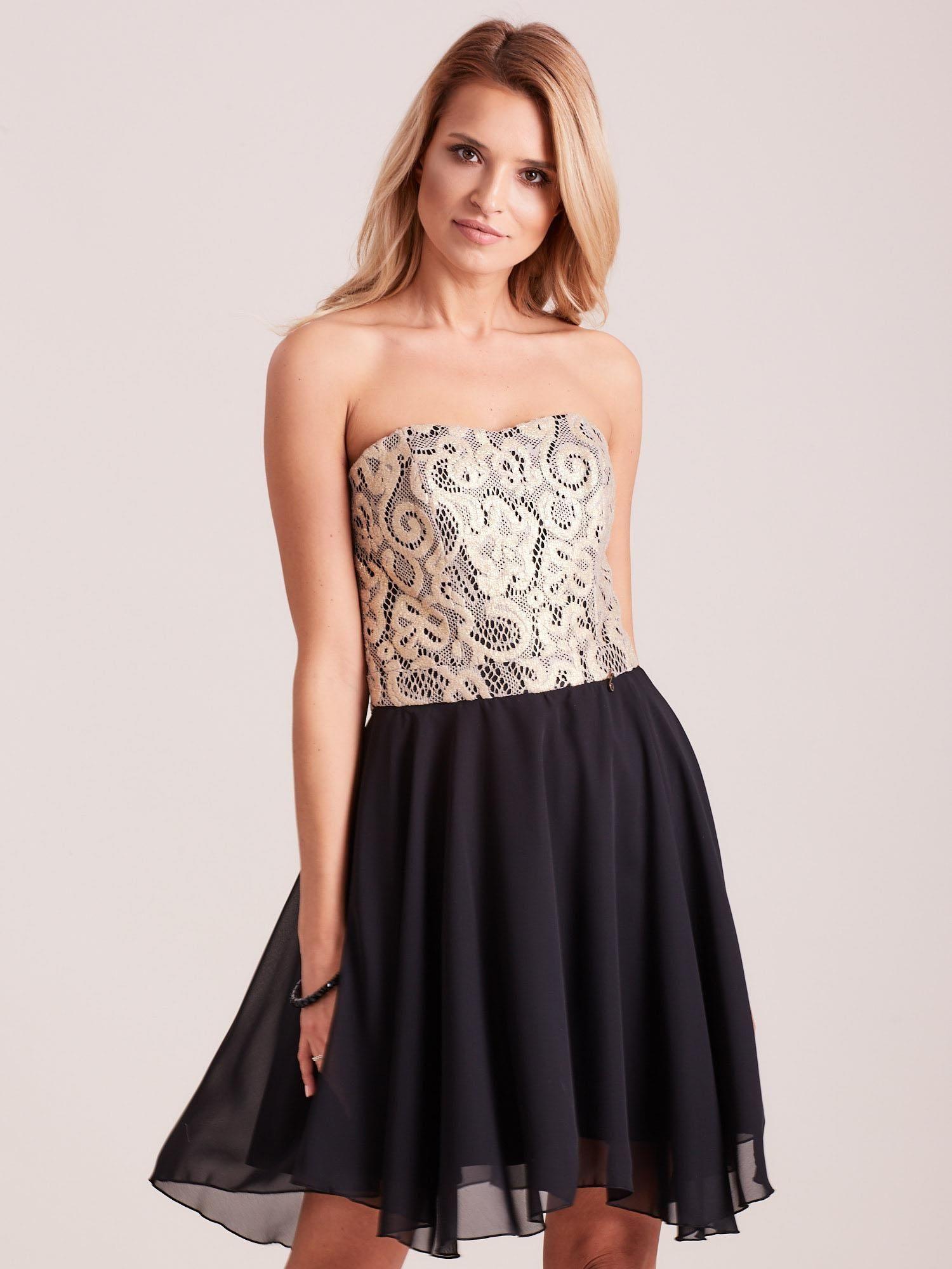 Elegantní černé krajkové šaty 36