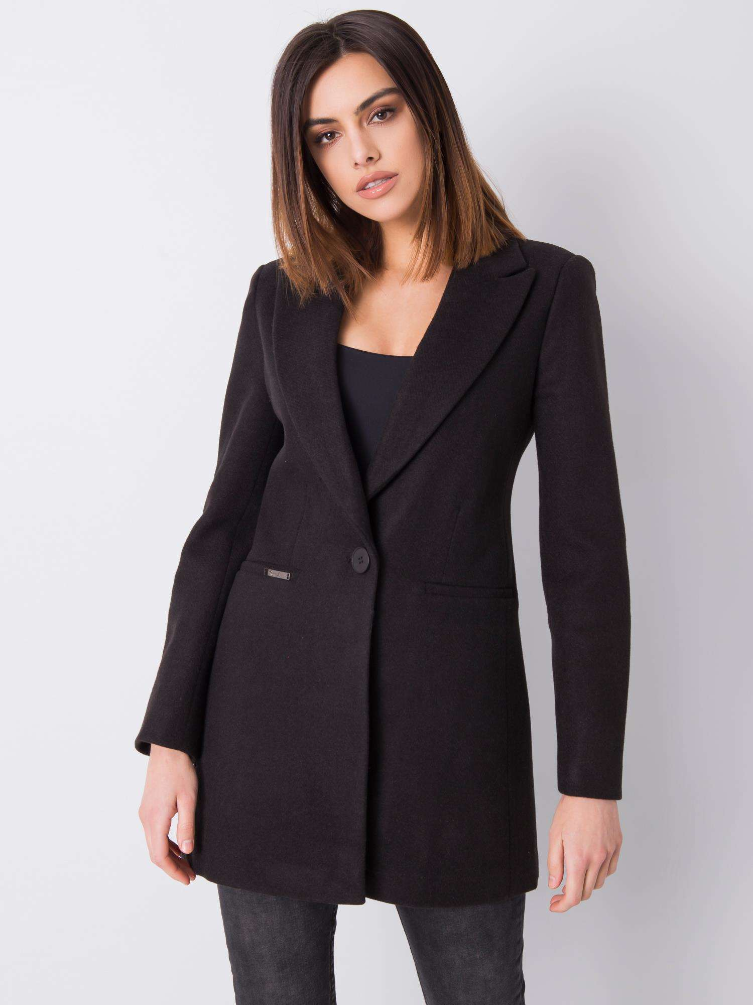 Černý klasický dámský kabát S