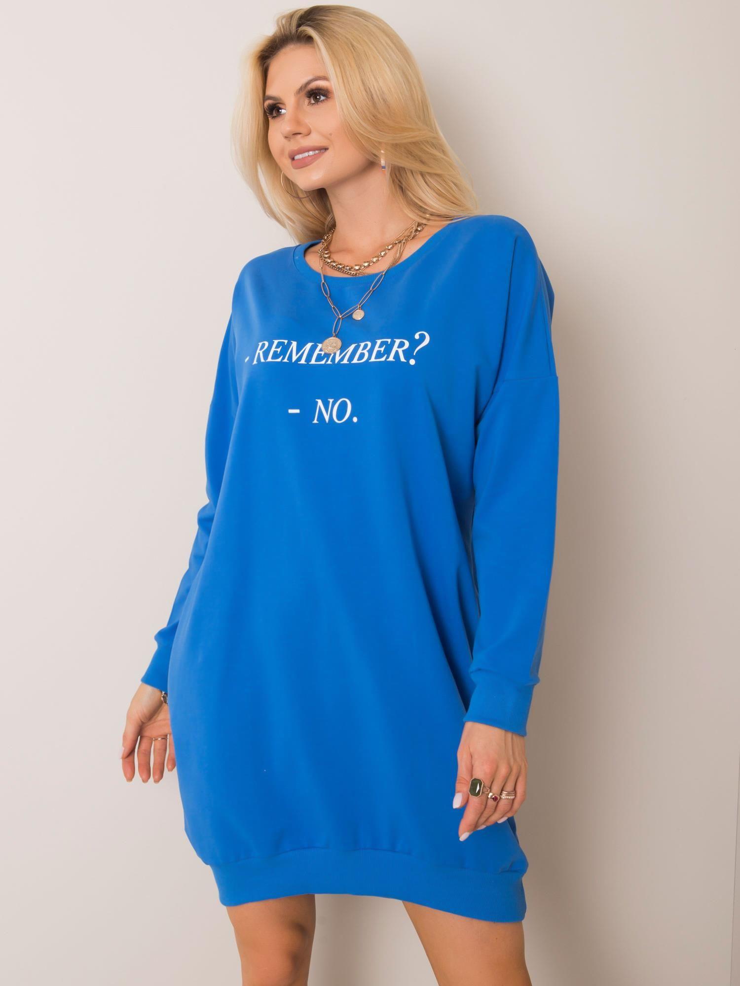 Modré bavlněné šaty ONE SIZE