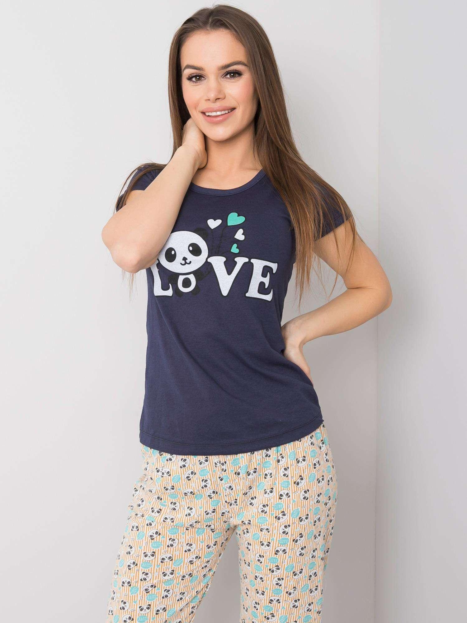 Dámské tmavě modré bavlněné pyžamo L