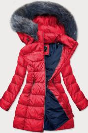 Červená dámská dlouhá zimní bunda (7701)