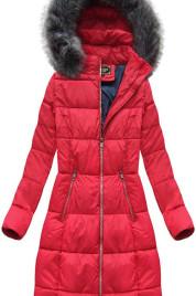 Červená dámská dlouhá zimní bunda (7701BIG)