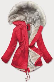 Červená dámská zimní bunda s kožíškem (B508)