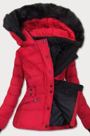 Červená dámská zimní bunda s kapucí (B9539)