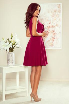 ANITA - Dámské šaty v bordó barvě s volánkem 274-1