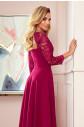 AMBER - Elegantní dlouhé krajkové dámské šaty ve vínové bordó barvě s dekoltem 309-1