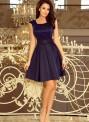 Tmavě modré dámské šaty s kulatým výstřihem a krajkou model 7297523