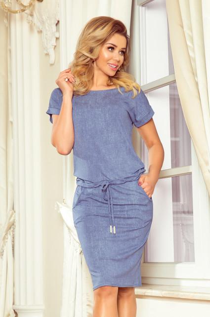 Dámske športové šaty vo svetlo modrej džínsovej farbe s krátkymi rukávmi 139-6