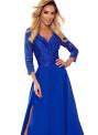 AMBER - Elegantní dlouhé krajkové dámské šaty v chrpové barvě s dekoltem 309-2
