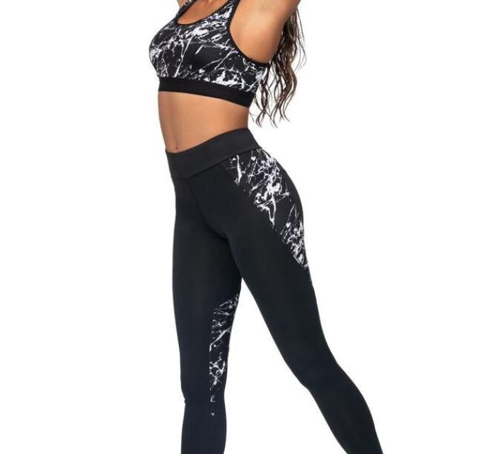 Fitness legíny Sonia černé mramor