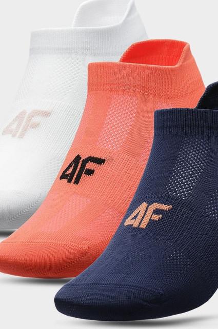 Dámské ponožky 4F SOD213 Bílé_lososové_modré (3 Páry)