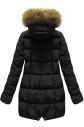 Černá prošívaná bunda s kapucí (R1050)