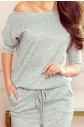 Šedé melanžové sportovní dámské šaty ze svetrového materiálu 13-117